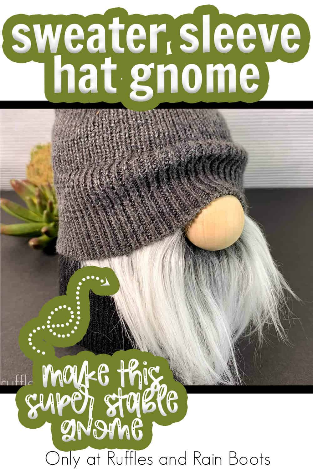 DIY gnome that won't tip over with text which reads sweater sleeve hat gnome make this super stable gnome