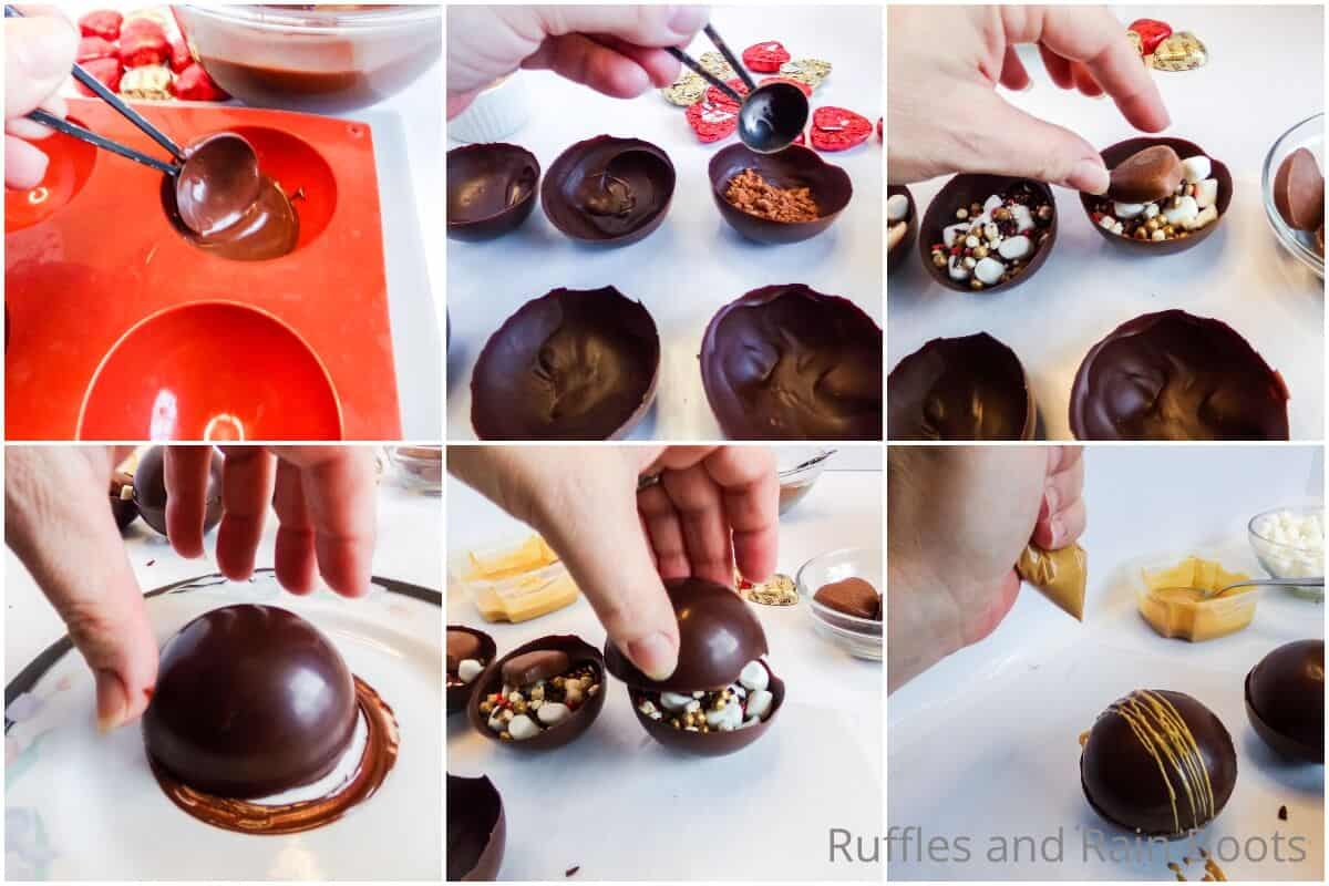 photo collage tutorial of how to make heart reeces hot cocoa bombs