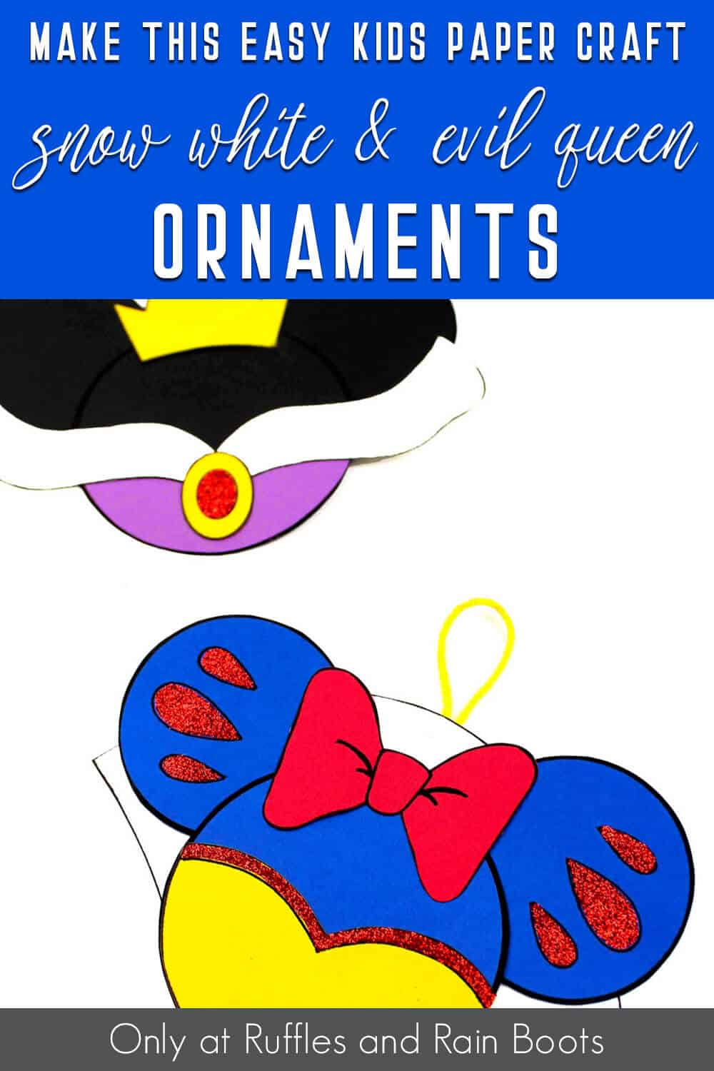 snow white minnie ornaments with text which reads make this easy kids paper craft snow white & evil queen ornaments