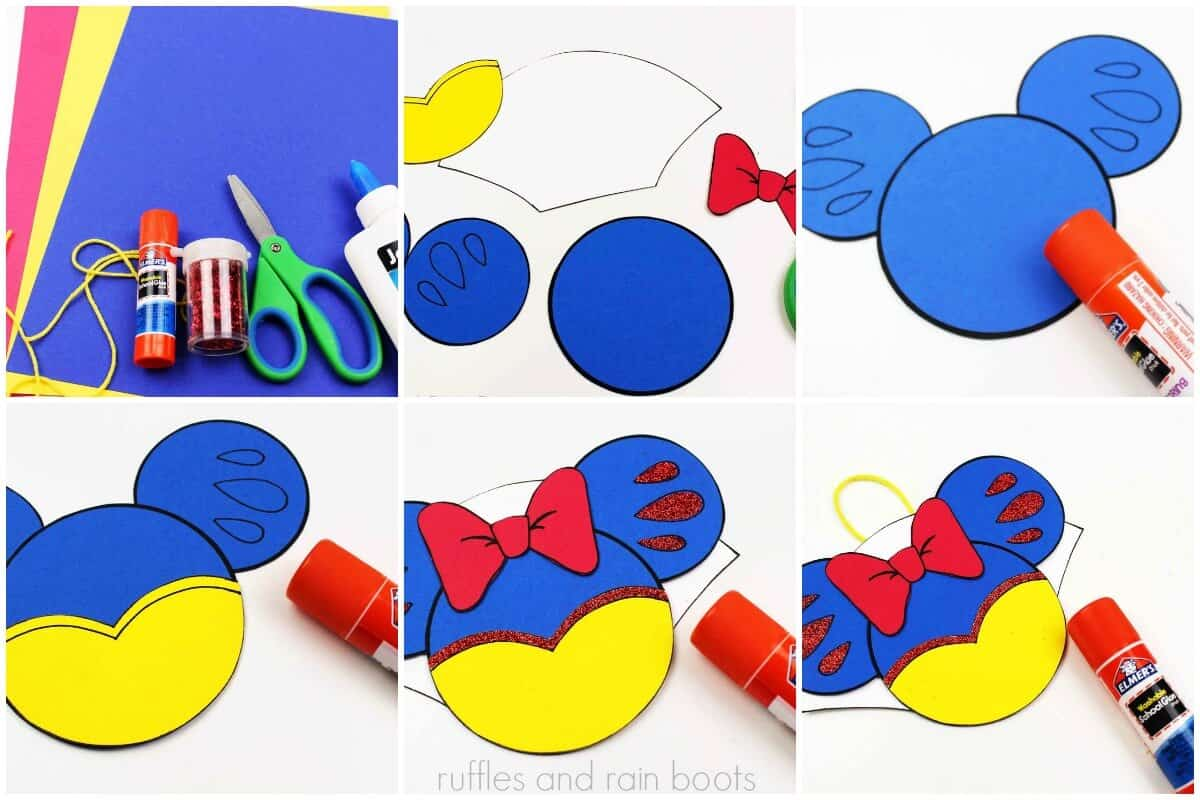 photo collage tutorial of How to make Snow White Christmas ornaments