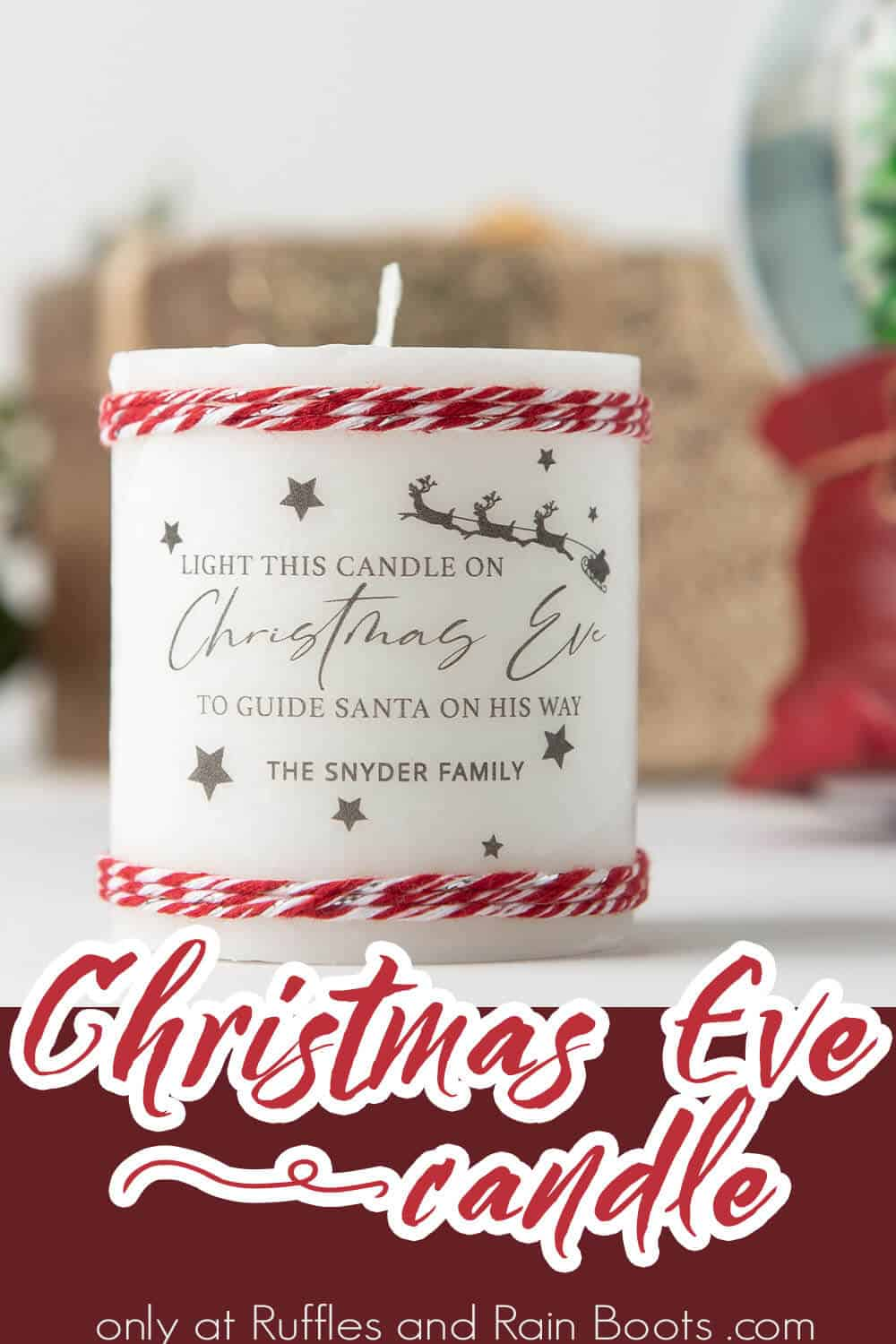 DIY Candle for Christmas Eve with text which reads christmas eve candle