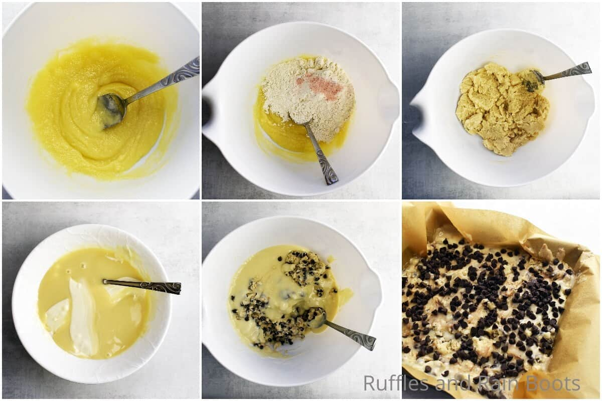 photo collage tutorial of how to make cookie dough fudge