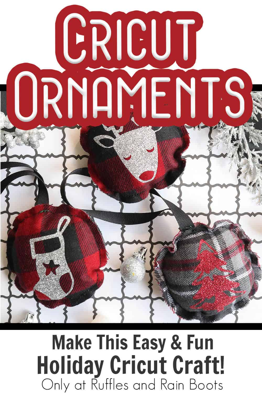 cricut cut file set christmas ornament with text which reads cricut ornaments make this easy & fun holiday cricut craft!