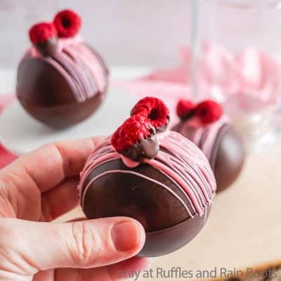 These Raspberry Dark Chocolate Hot Cocoa Bombs are a Decadent Treat!
