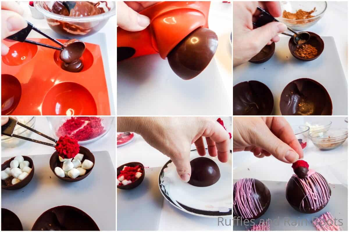 photo collage tutorial of how to make raspberry dark chocolate hot cocoa bombs