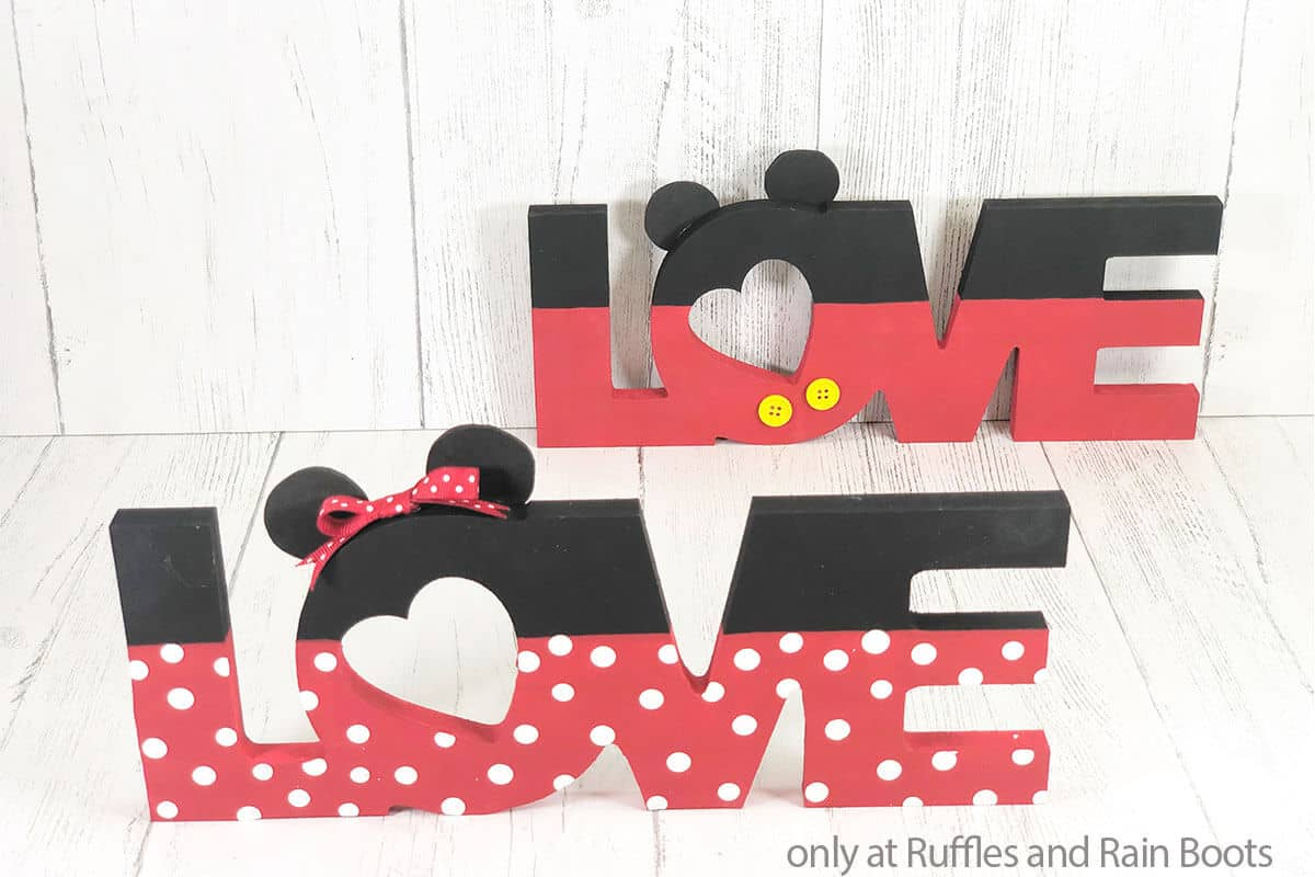 mickey mouse dollar tree love sign craft for valentines