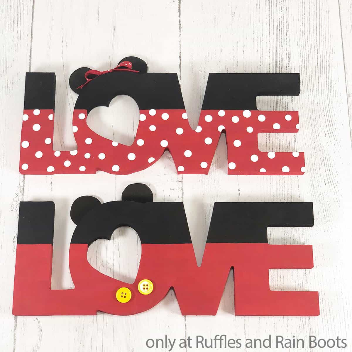 mickey love sign dollar tree craft for valentines