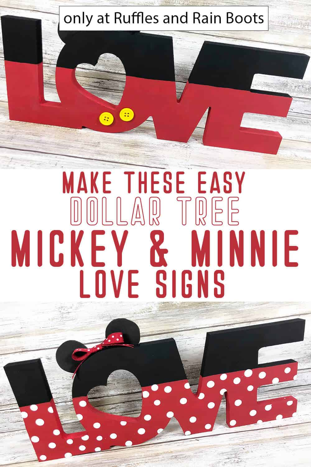 photo collage of mickey and minnie love sign dollar tree craft for valentines with text which reads make these easy dollar tree mickey & minnie love signs