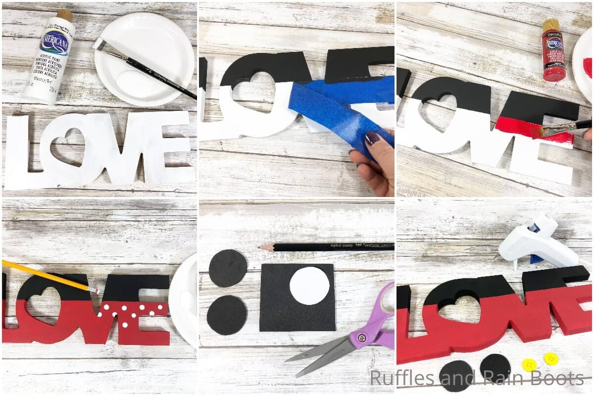 photo collage tutorial of how to make a mickey love sign dollar tree valentines craft