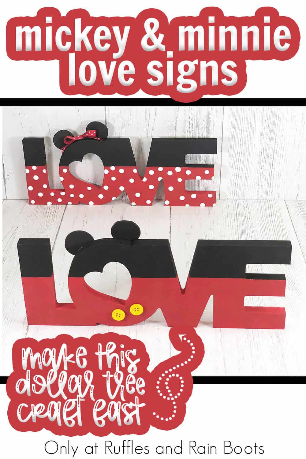 dollar tree mickey and minnie love sign sit with text which reads mickey & minnie love signs make this dollar tree craft fast