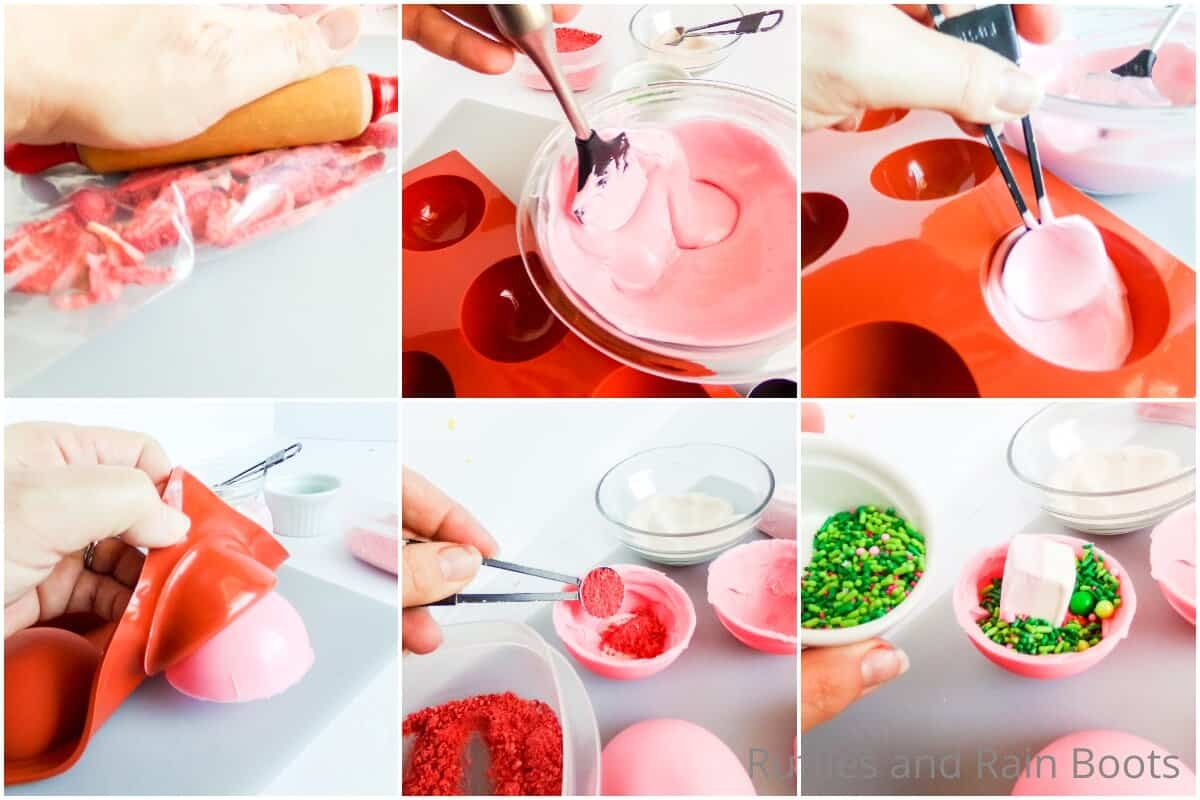 photo collage tutorial of how to make strawberry hot cocoa bombs