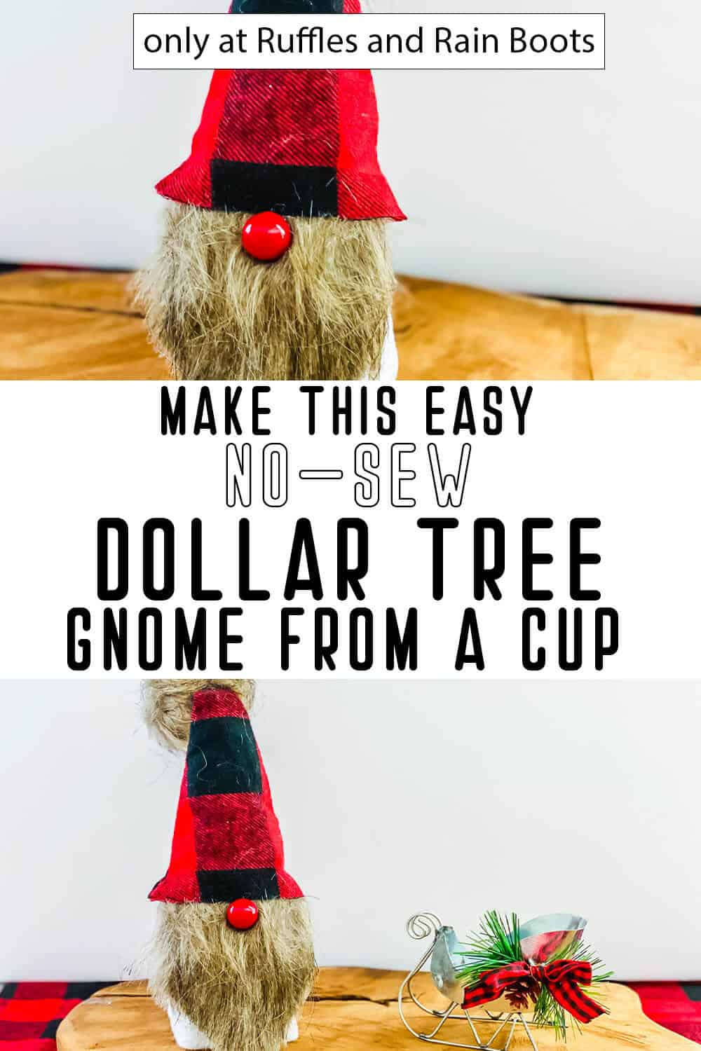 photo collage of dollar tree gnome with a cup body with text which reads make this easy no-sew dollar tree gnome from a cup