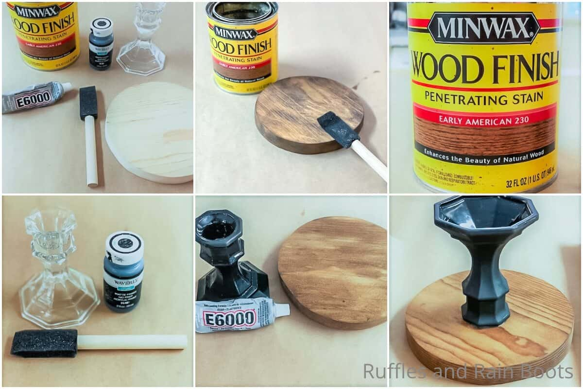 photo collage tutorial of how to make a dollar tree farmhouse gnome stand
