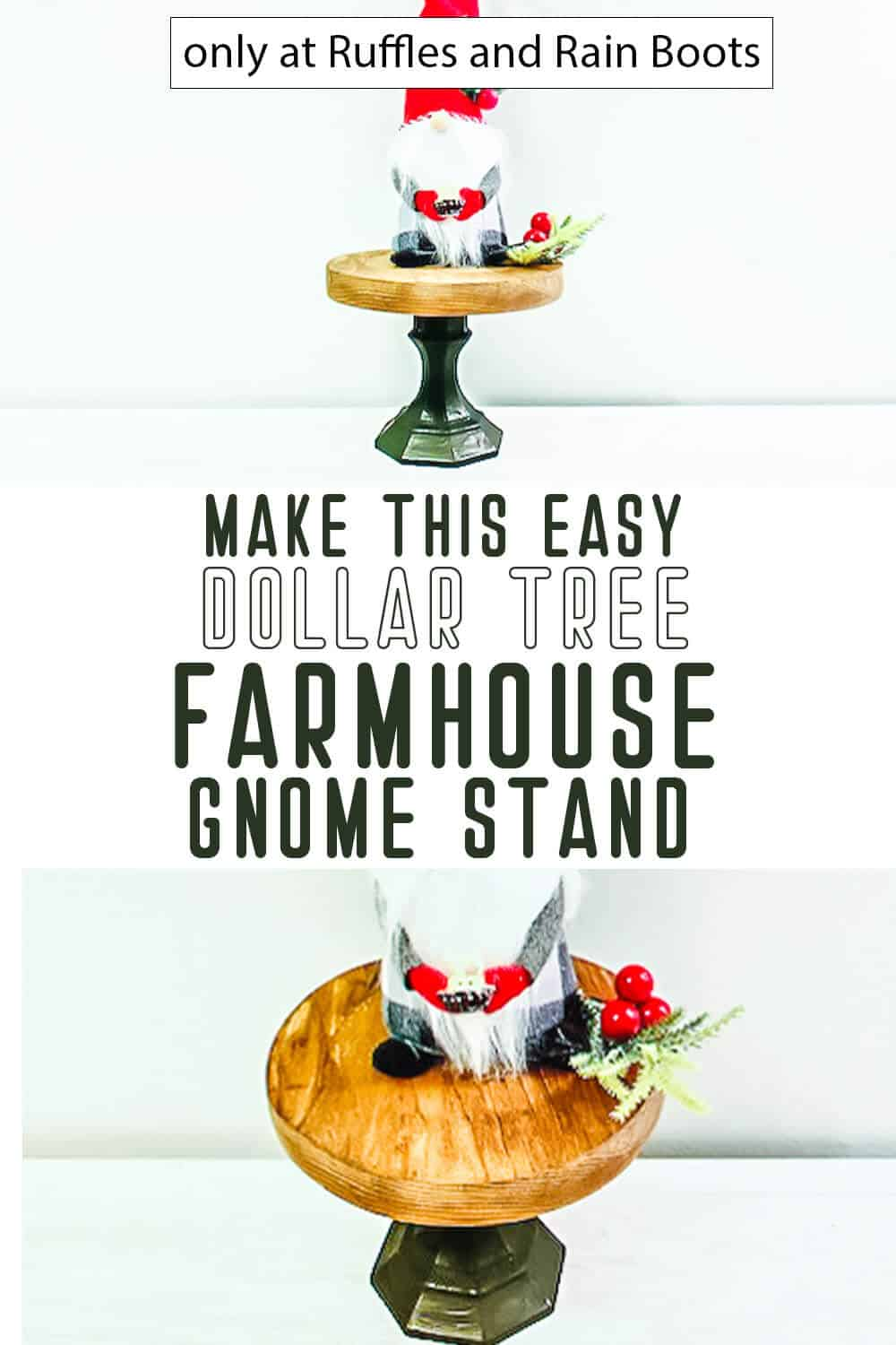 photo collage of dollar tree gnome stand craft with text which reads make this easy dollar tree farmhouse gnome stand