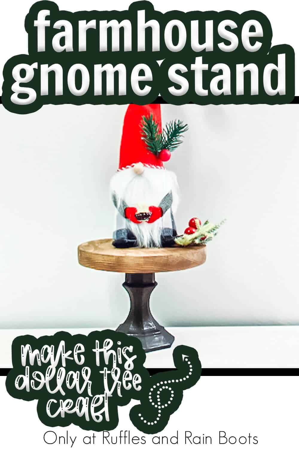 dollar store craft farmhouse gnome stand with text which reads farmhouse gnome stand make this dollar tree craft