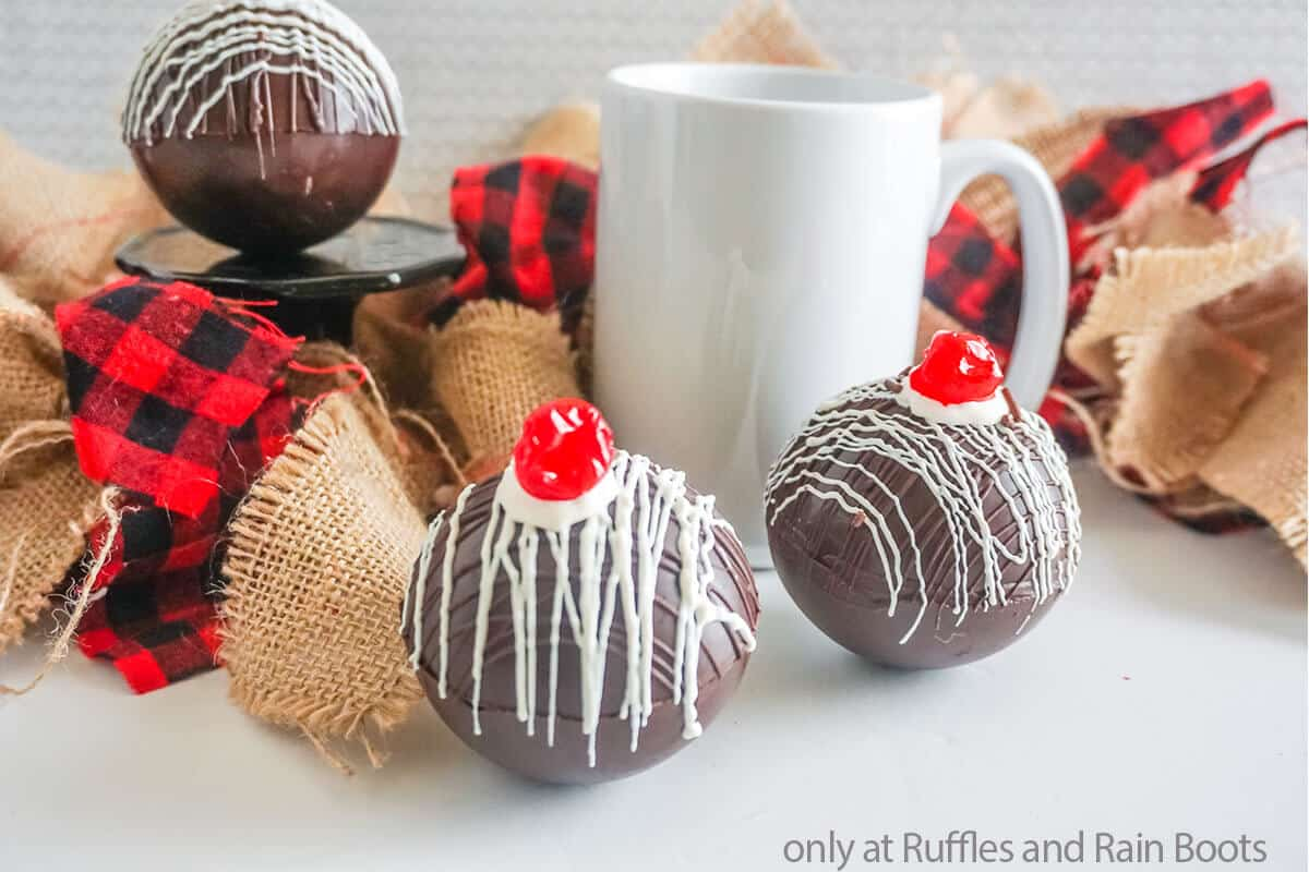 cherry and chocolate hot cocoa bombs