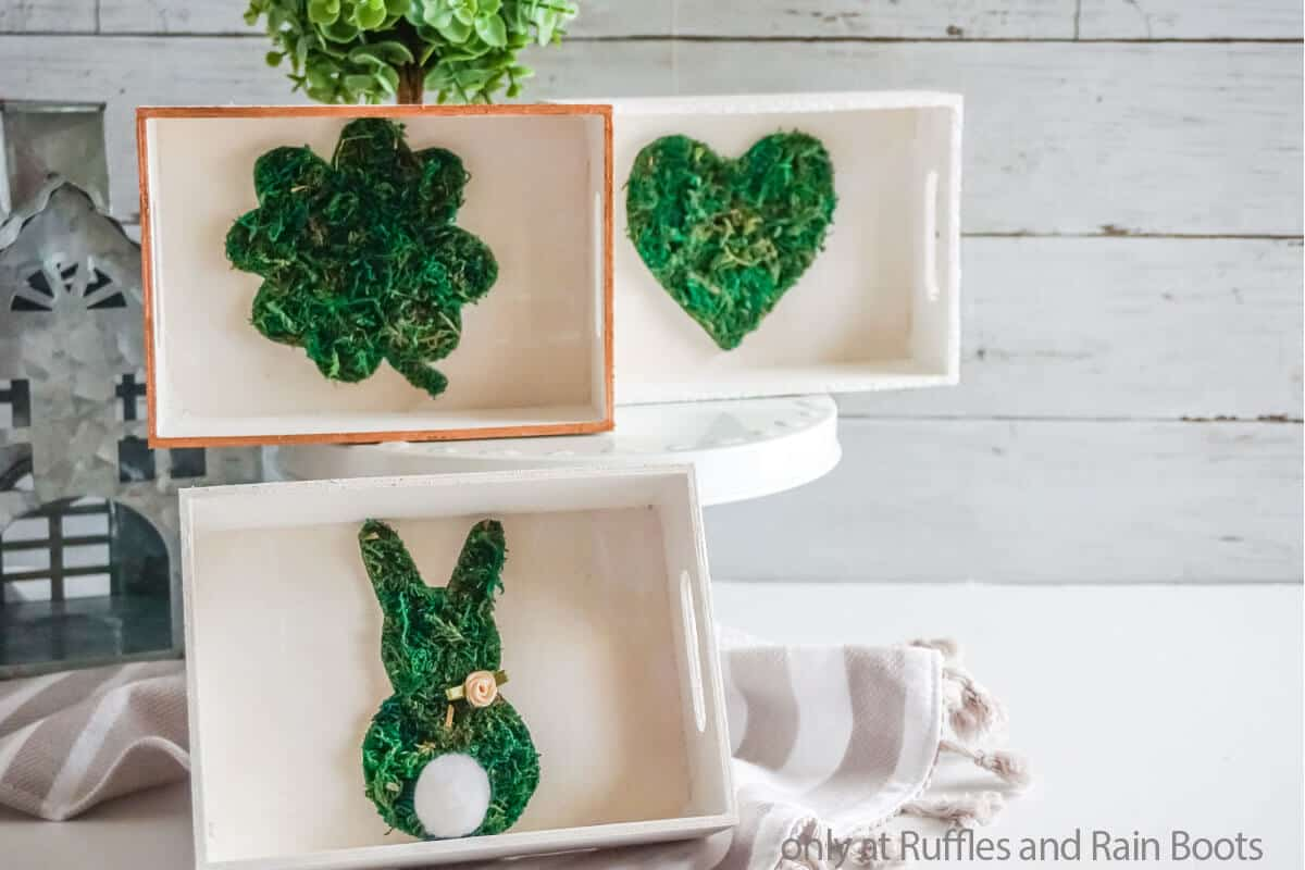 moss four leaf clover tiered tray filler diy