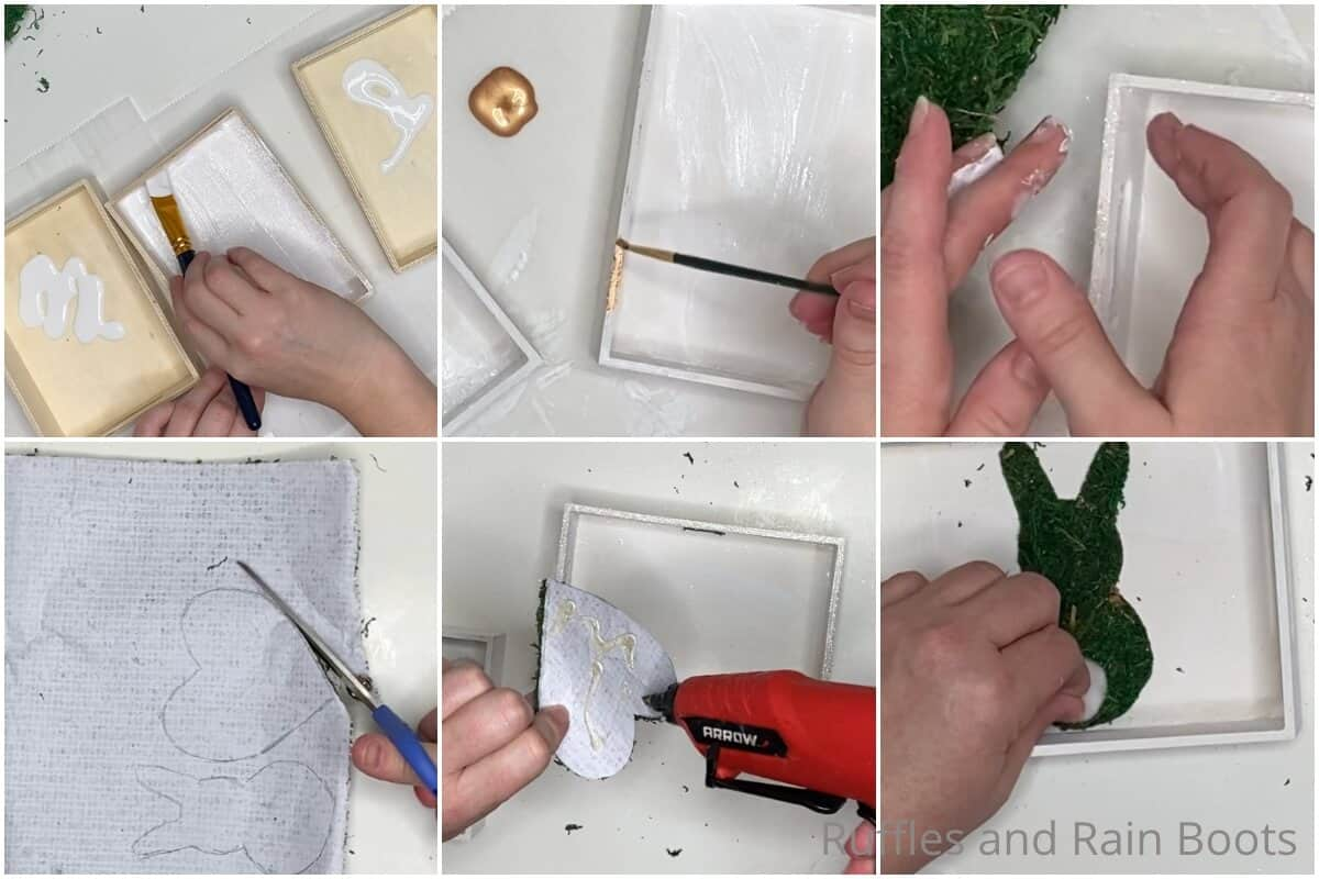 photo collage tutorial of how to make farmhouse tiered tray fillers