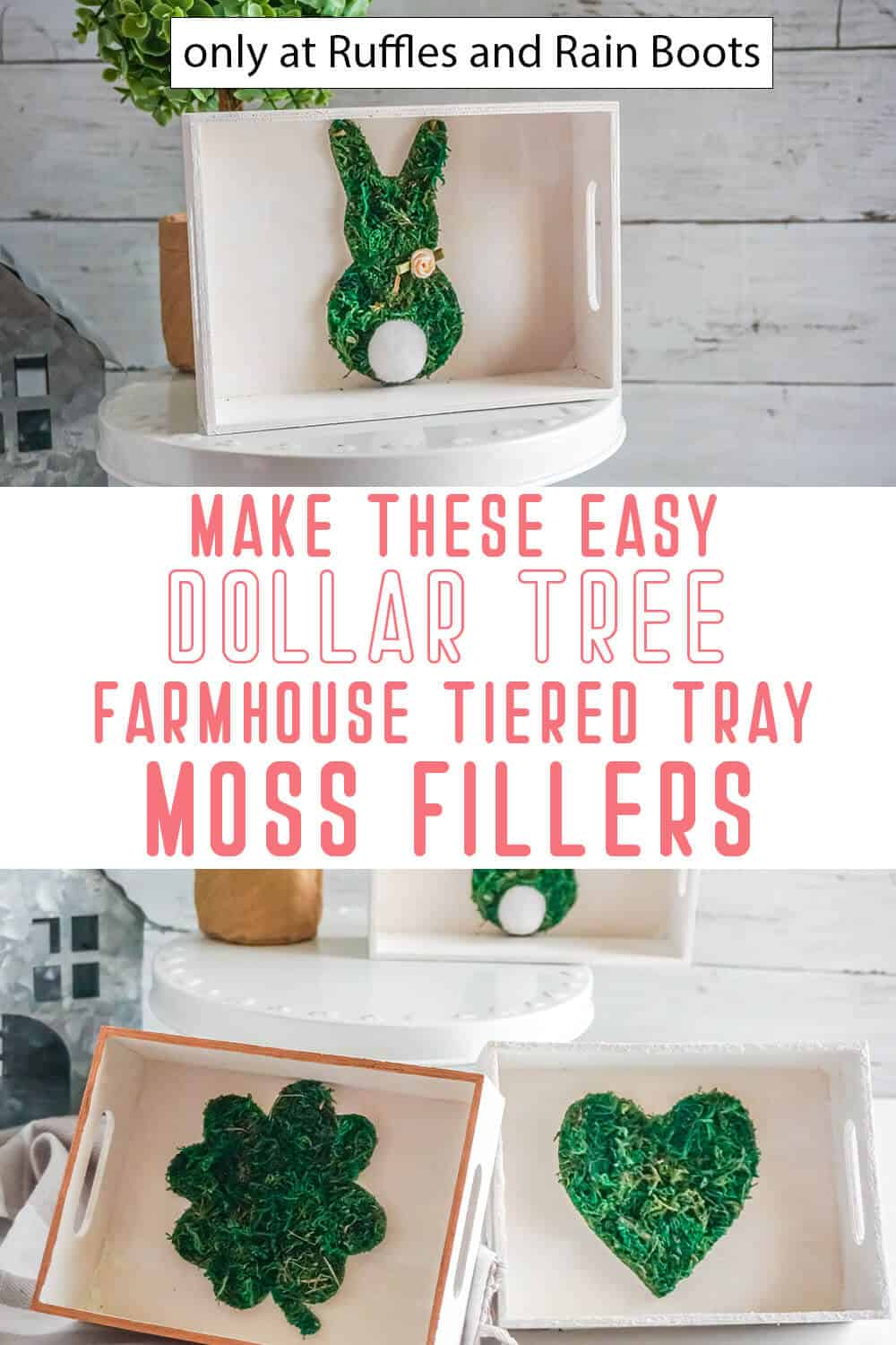 photo collage of holiday farmhouse tiered tray filler diy with text which reads make these easy dollar tree farmhouse tiered tray moss fillers