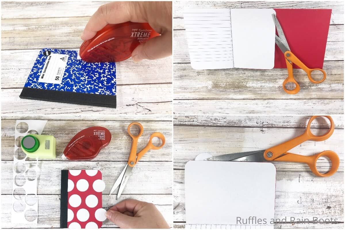 photo collage tutorial of how to make a minnie notebook