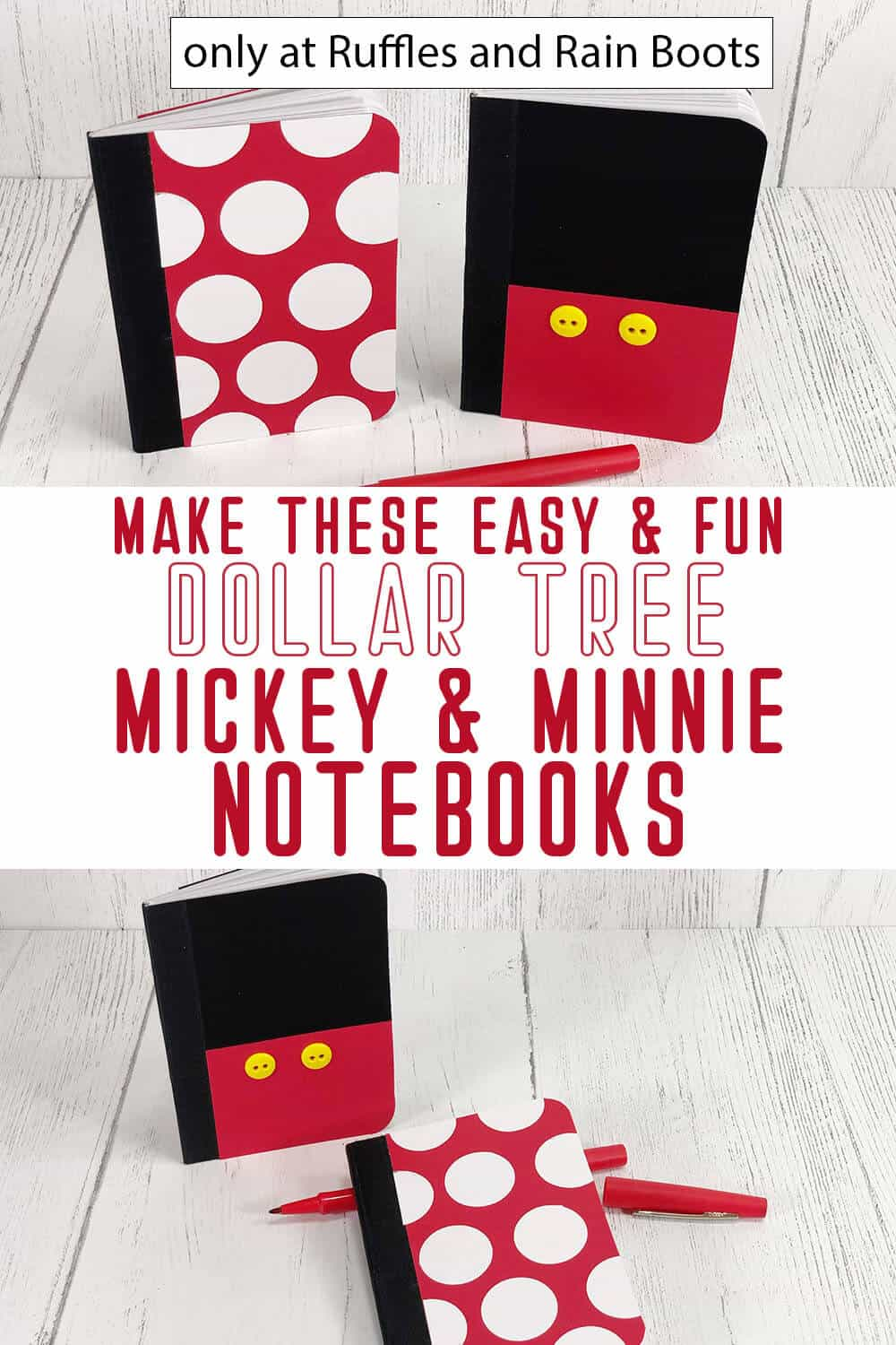 photo collage of diy mickey and minnie notebooks disney craft with text which reads make these easy & fun dollar tree Rickey & minnie notebooks