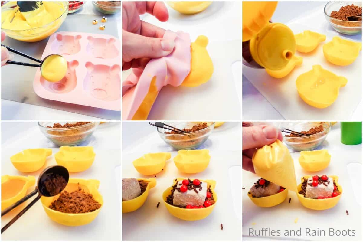 photo collage tutorial of how to make winnie the pooh hot cocoa bombs