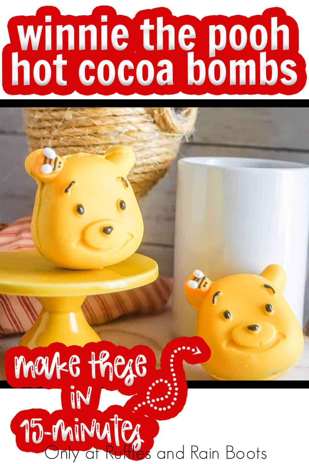 hot cocoa bomb winnie the pooh with text which reads winnie the pooh hot cocoa bombs make these in 15-minutes