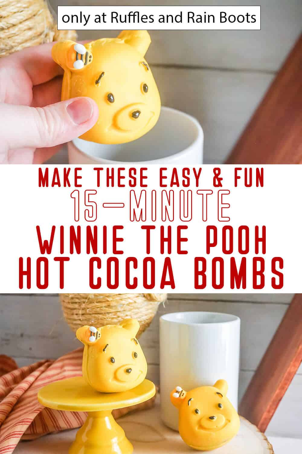 photo collage of DIY bear hot cocoa bombs with text which reads make these easy & fun 15-minute winnie the pooh hot cocoa bombs
