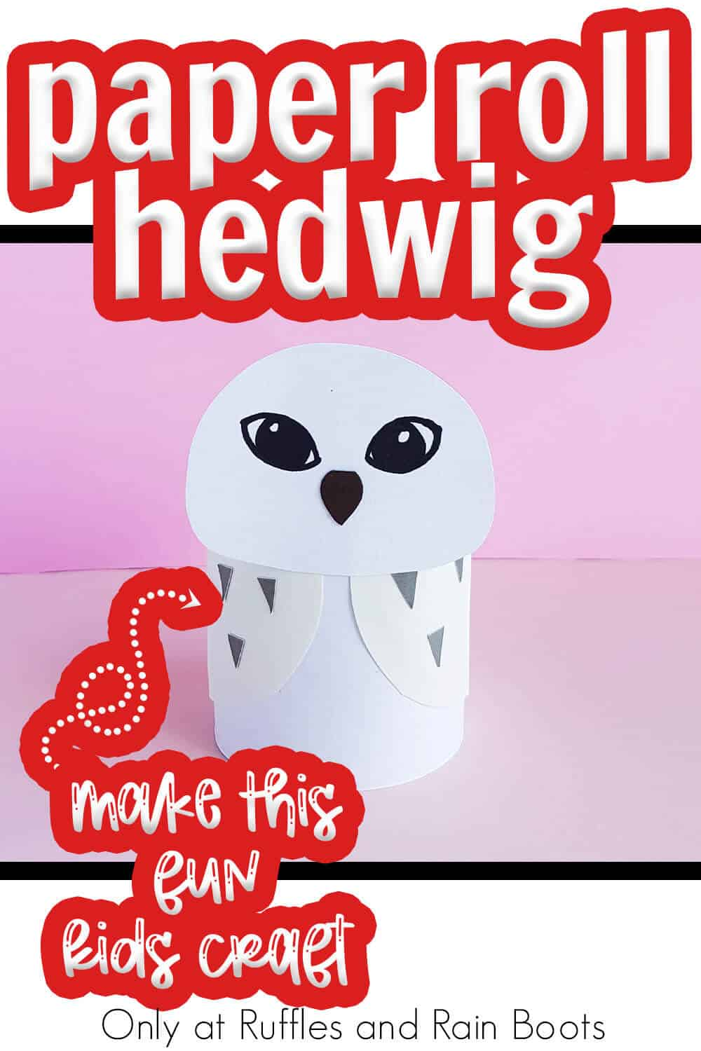 paper craft for kids hedwig owl from harry potter with text which reads paper roll hedwig make this fun kids craft
