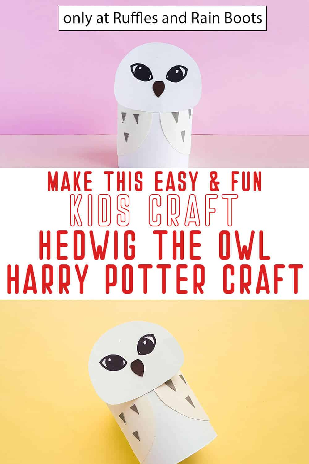 photo collage of hedwig owl paper craft harry potter craft with text which reads make this easy & fun kids craft hedwig the owl harry potter craft
