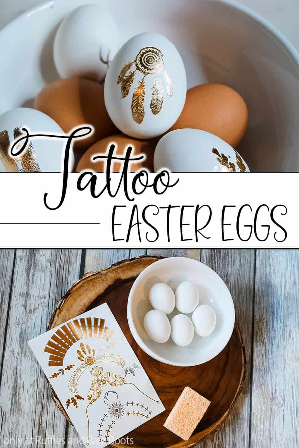 photo collage of easter eggs decorated with tattoos with text which reads tattoo easter eggs