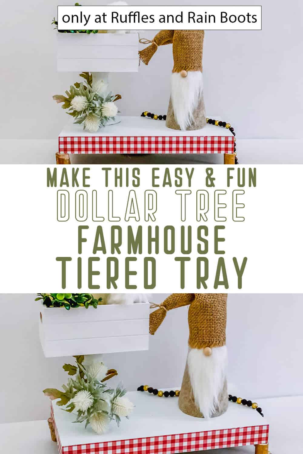 photo collage of dollar tree farmhouse tiered tray with text which reads make this easy & fun dollar tree farmhouse tiered tray