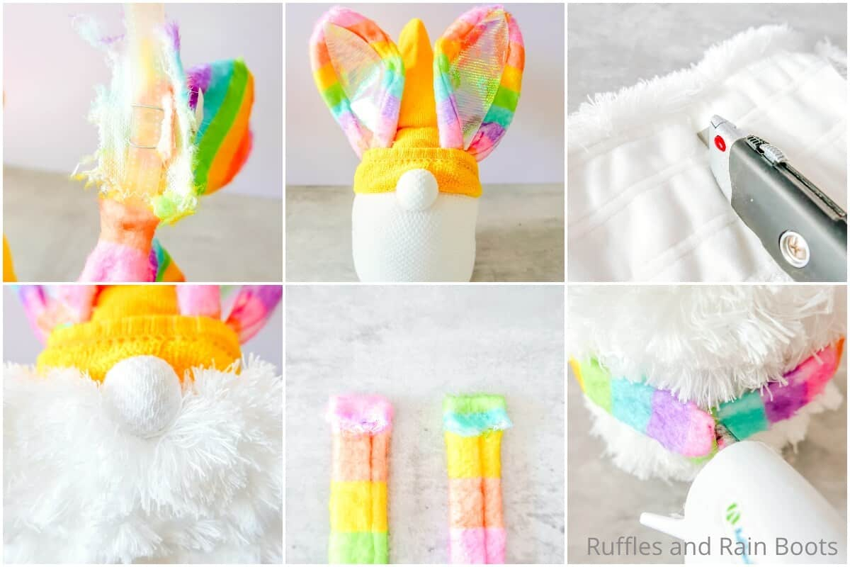 photo collage tutorial of how to make an easter gnome with rainbow ears