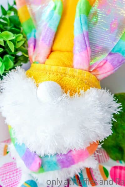 easter bunny gnome with rainbow ears