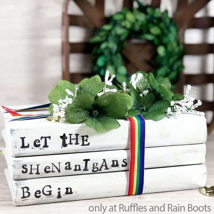 st patricks day book stack dollar store craft