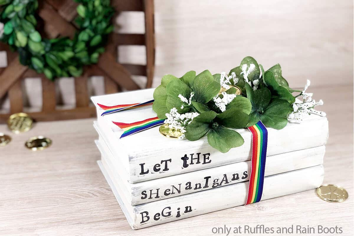 book stack for farmhouse decor for st patrick's day