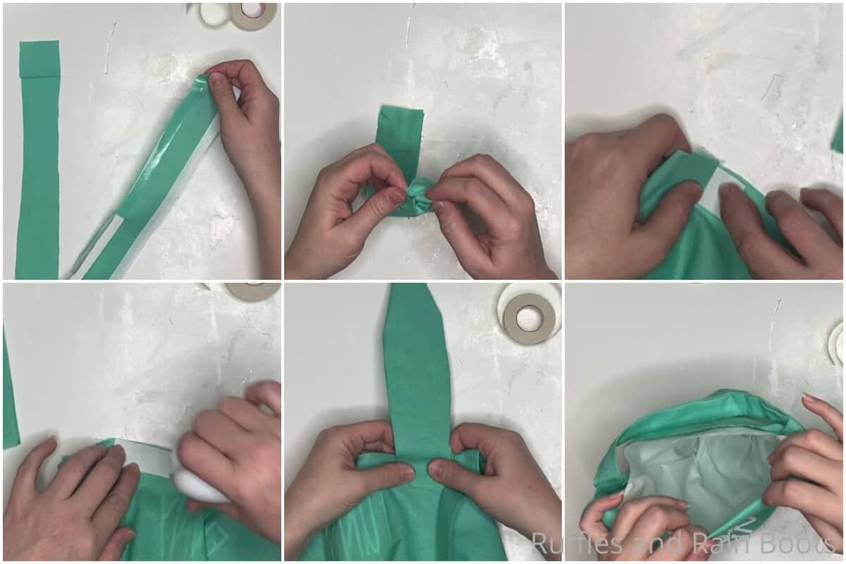 photo collage tutorial of how to make an easter basket with cricut or Silhouette