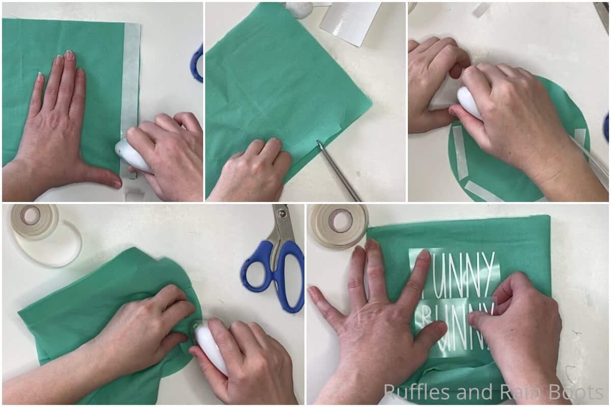 photo collage tutorial of how to make a no-sew easter basket