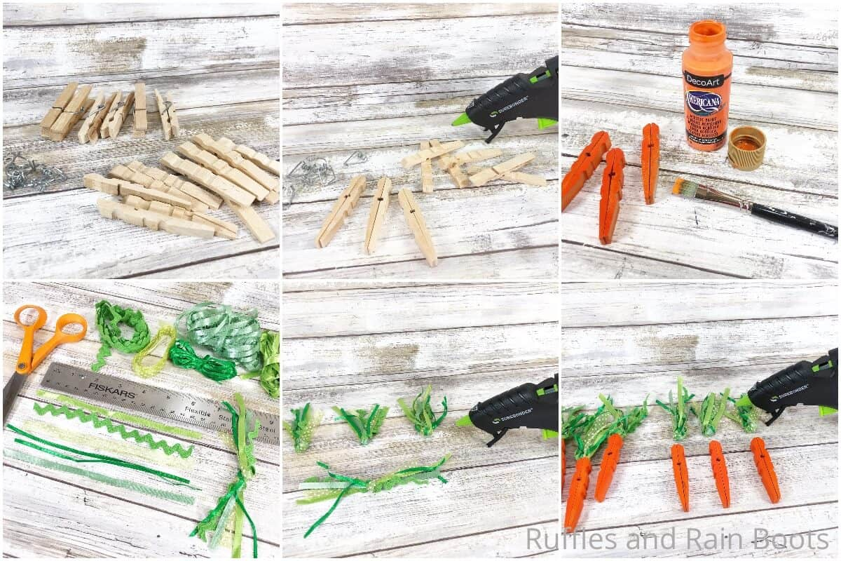 photo collage tutorial of how to make clothespin carrots for farmhouse tiered tray decor