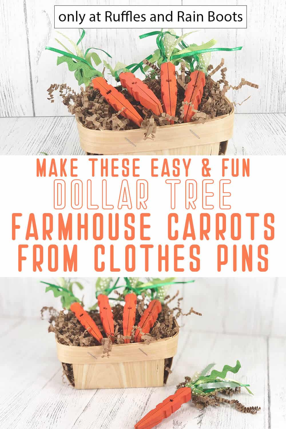 photo collage of DIY farmhouse carrots made of clothespins with text which reads make these easy & fun dollar tree farmhouse carrots from clothespins