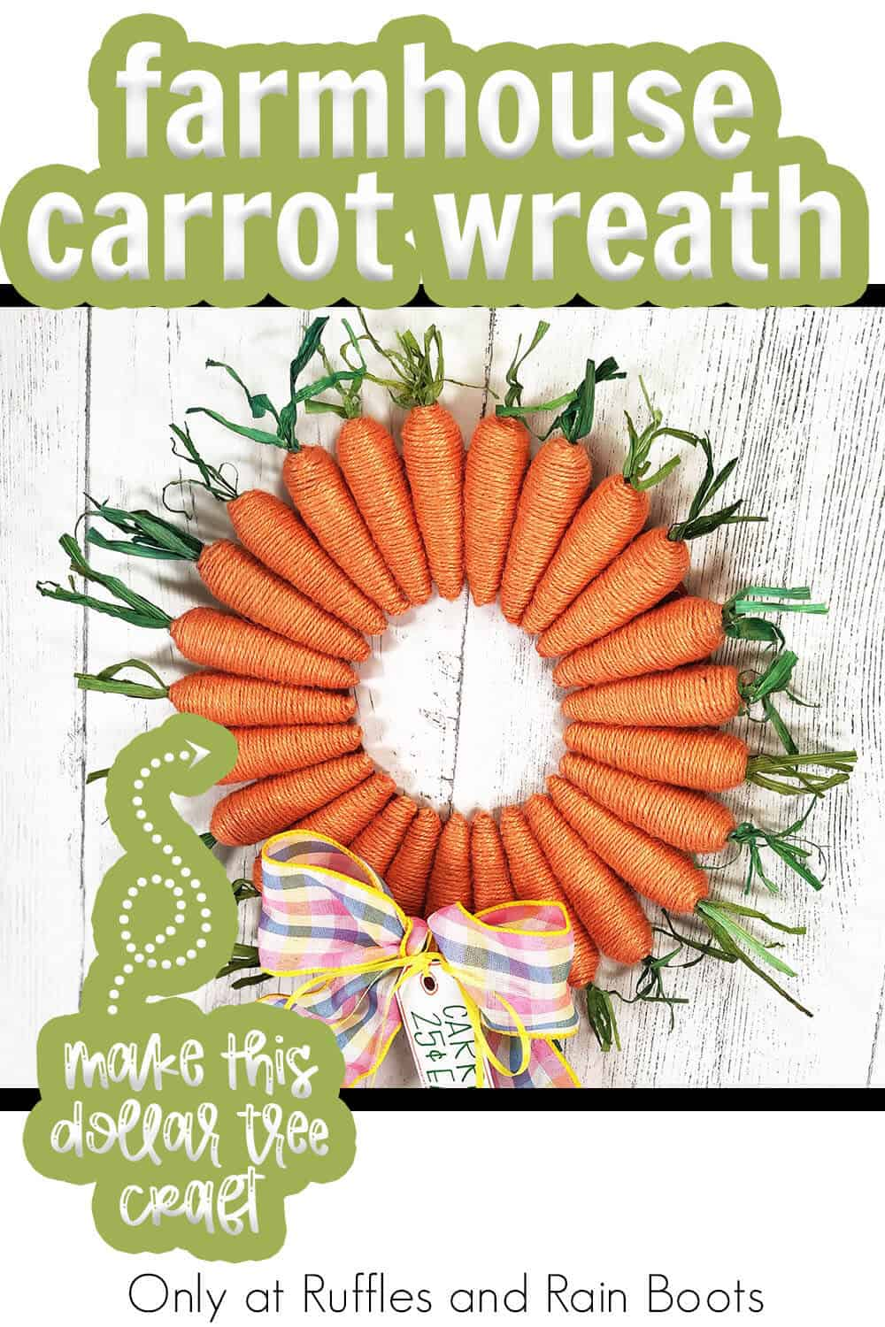 rustic farmhouse wreath for easter with text which reads farmhouse carrot wreath make this dollar tree craft