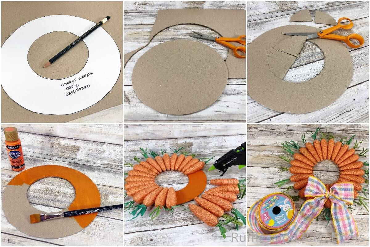 photo collage tutorial of how to make a farmhouse carrot wreath