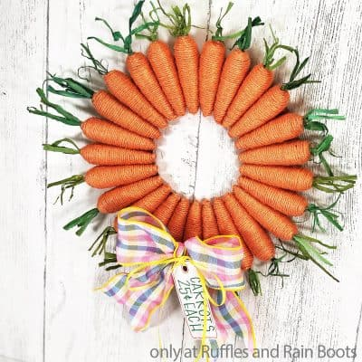 This DIY Farmhouse Carrot Wreath is the Best Easy Easter Wreath Craft!