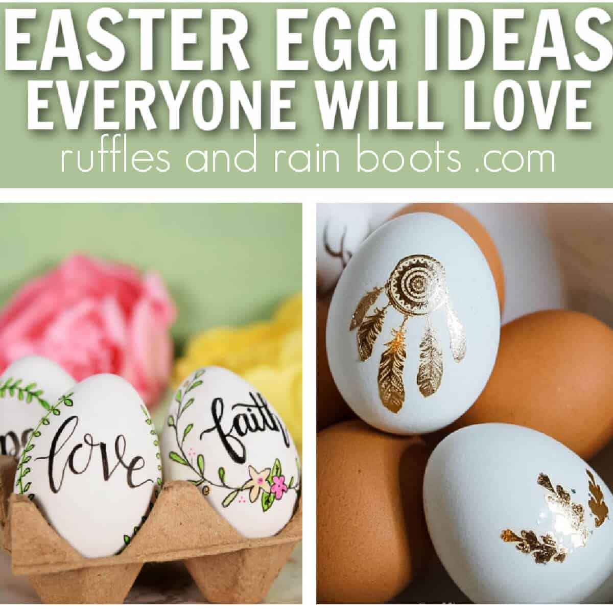 two image collage of hand lettered eggs and Easter egg made with tattoo with text easter egg ideas