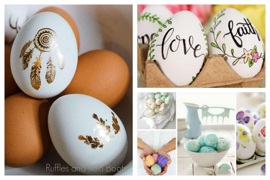 collage of farmhouse Easter egg ideas in boho, traditional, hand lettering, and staged styles