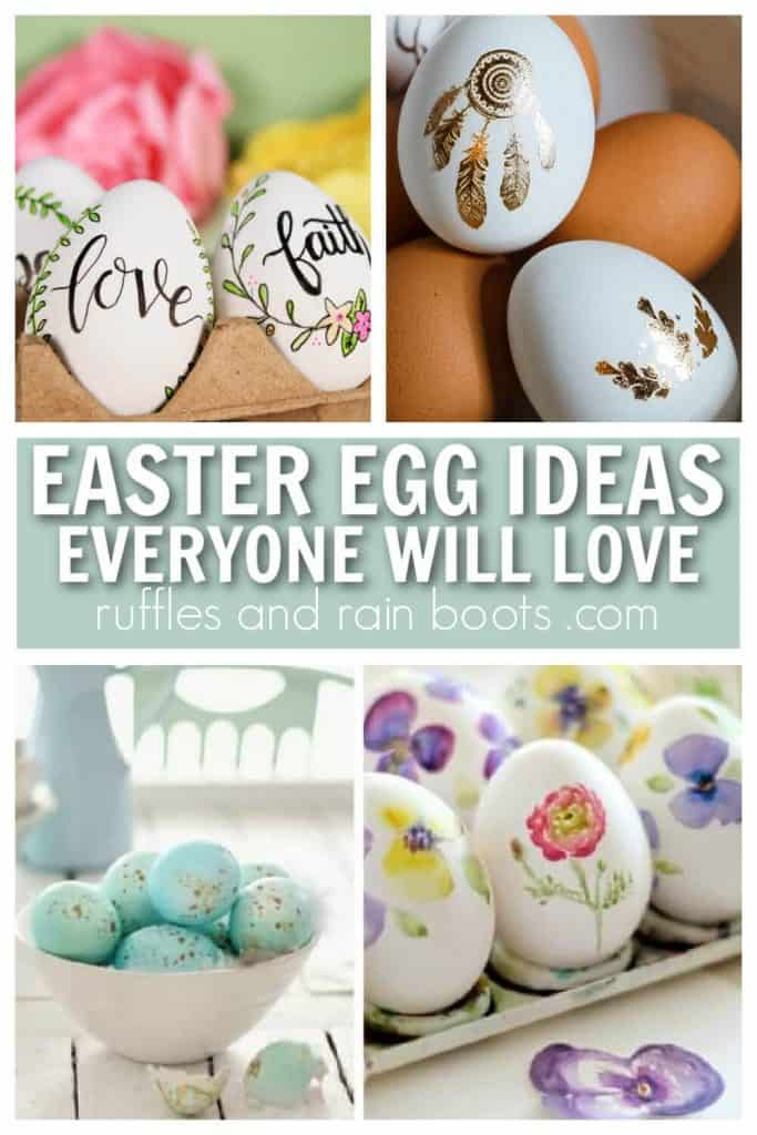 vertical collage of 4 farmhouse Easter egg ideas for decor