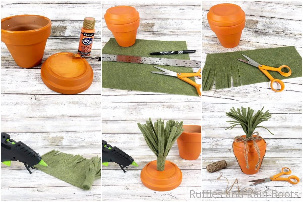 photo collage tutorial of how to make a clay pot carrot