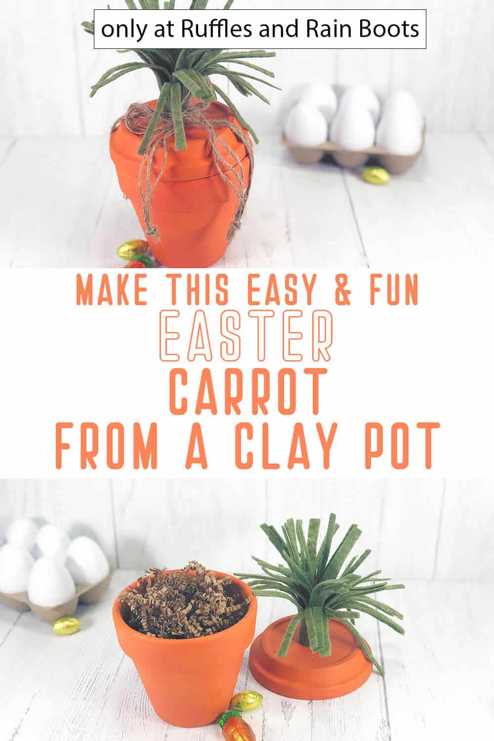 photo collage of clay pot carrot craft with text which reads make this easy & fun easter carrot from a clay pot