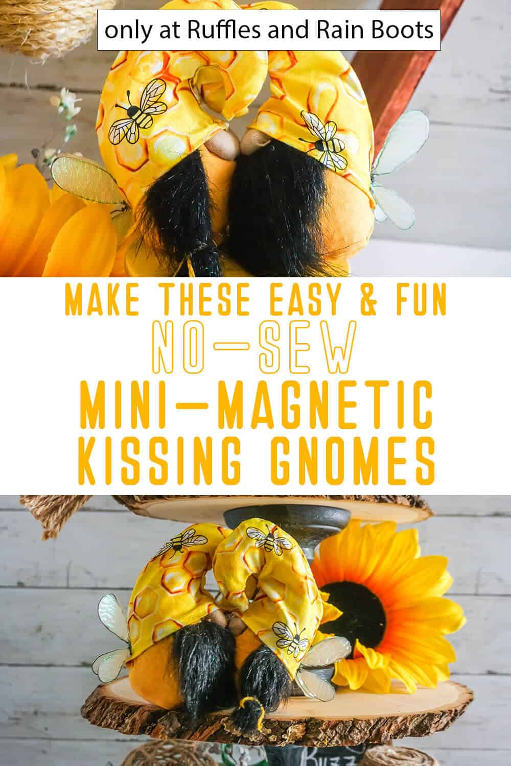 photo collage of mini magnetic kissing bee gnomes with text which reads make these easy & fun no-sew mini-magnetic kissing gnomes
