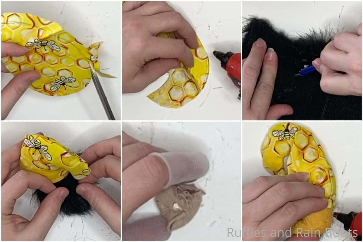 photo collage tutorial of how to make a magnetic mini gnome bee themed